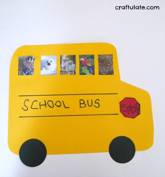 School Bus Friends Craft - who does your child want to ride to school with?