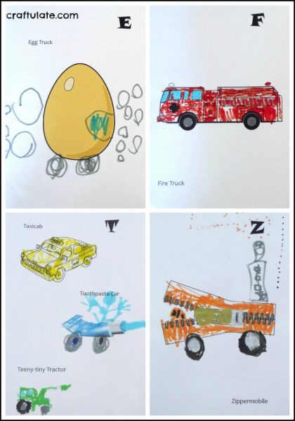 Cars and Trucks From A to Z ART BOOK - free printable based on the Richard Scarry classic