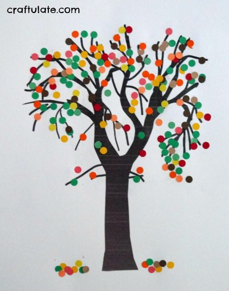 Punched Paper Tree Collage - a fall art activity for kids