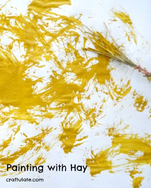 Painting with Hay - a process art activity for kids