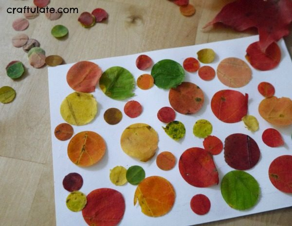 Paper Punch Real Leaf Collage - a fall art activity for kids