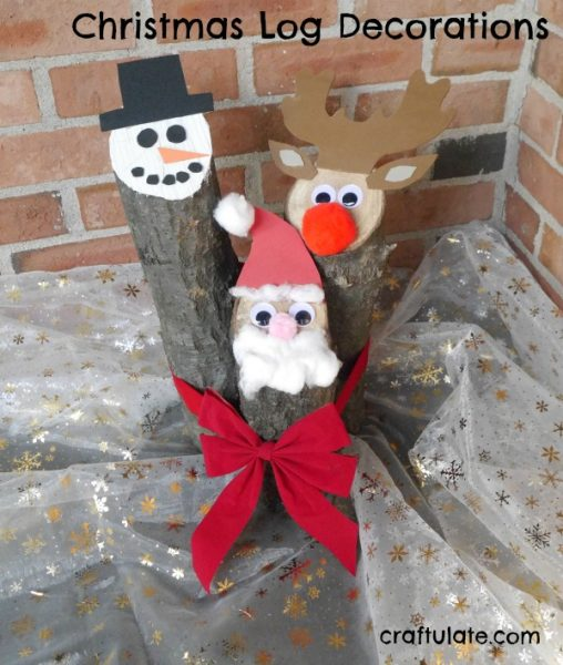 Christmas Log Decorations - kids will love decorating these reindeer, snowman and Santa logs!