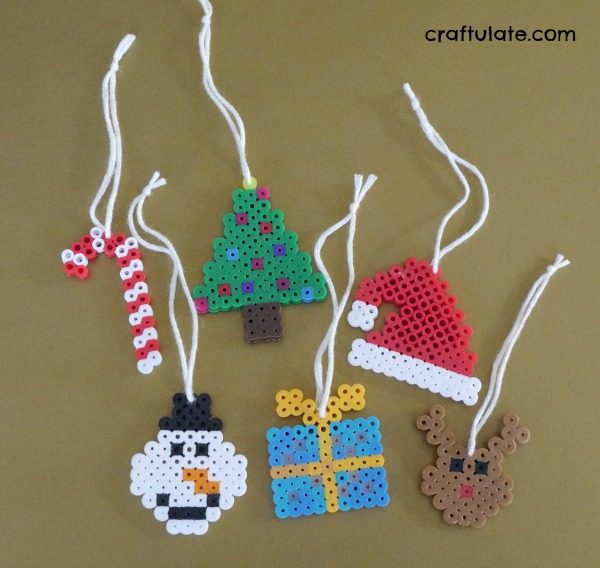 Christmas Perler Bead Ornaments - kids craft with six free designs