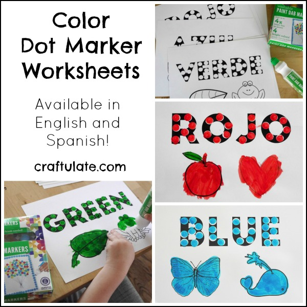 Color Dot Marker Worksheets - available in 6 colors in both English and Spanish!