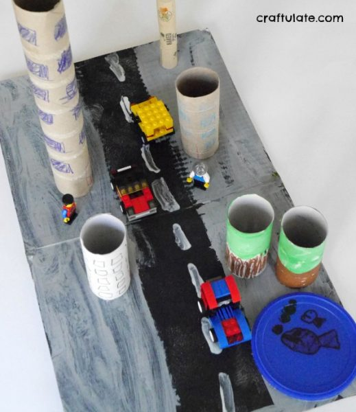 Town Craft for Kids - made from recyclables!