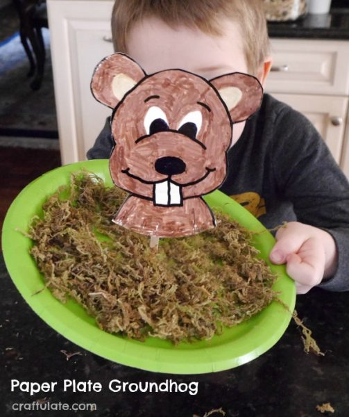 Paper Plate Groundhog Craft - a cute craft for kids to make