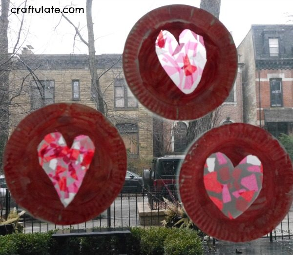 paper plate heart suncatcher craftulate