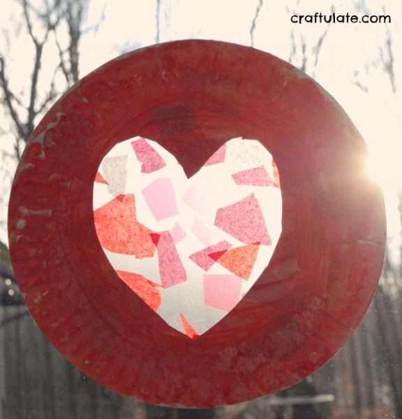 Paper Plate Heart Suncatcher - a fun crafts for kids of all ages for Valentine's Day!