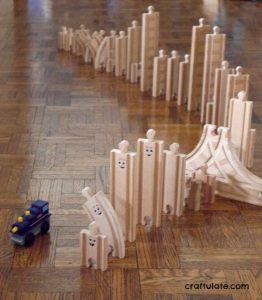 Wooden Train Track Dominoes