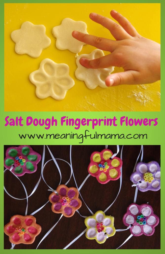 Salt Dough Fingerprint Flowers