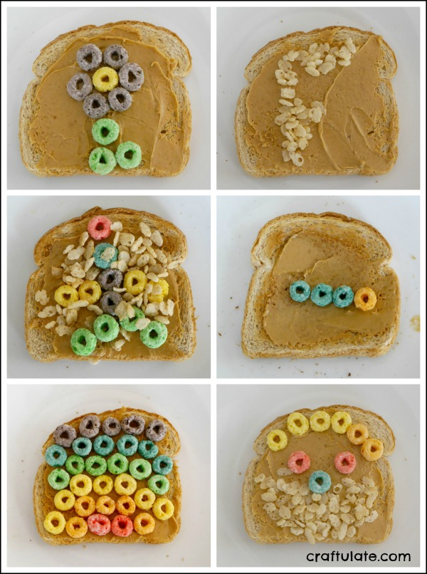 Cereal Art on Toast - a fun way to create edible art with kids!