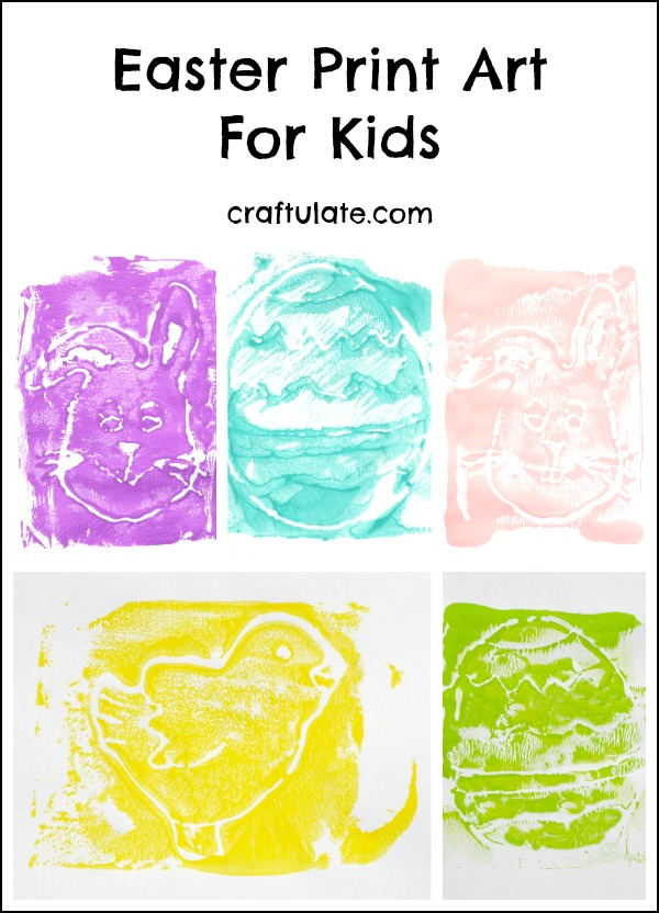 Easter Print Art for kids to make - using recycled Styrofoam sheets!