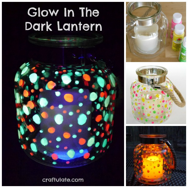 Glow In The Dark Lantern - pretty decor for outside that kids can help make!