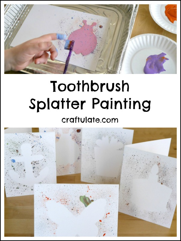 Toothbrush Splatter Painting - a fun way for kids to make art!