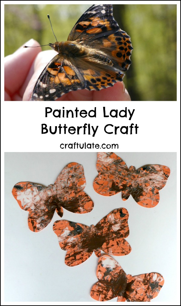 Painted Lady Butterfly Craft - a fun art project for kids that uses a marble painting technique!
