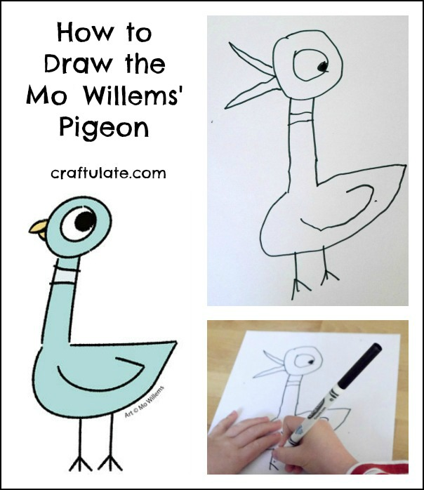 How to Draw the Mo Willems' Pigeon - a step-by-step guide by kids for kids.
