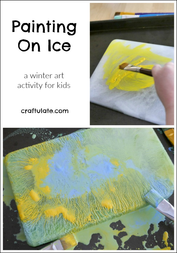 Painting On Ice - a winter art activity for kids!