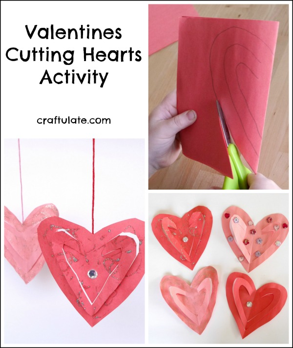 Valentines Cutting Hearts Activity - great for fine motor practice!