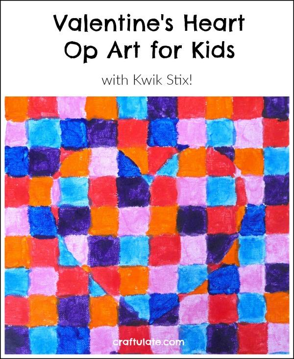 Valentine's Heart Op Art for Kids - using quick drying Kwik Stix!
