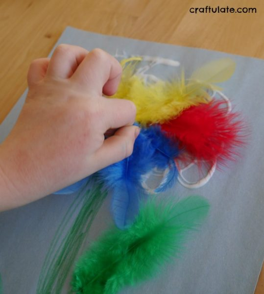 Feather Flower Craft - a fun spring craft for kids to make