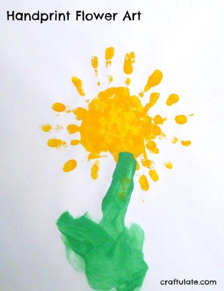 Handprint flower art craftulate mightylinksfo